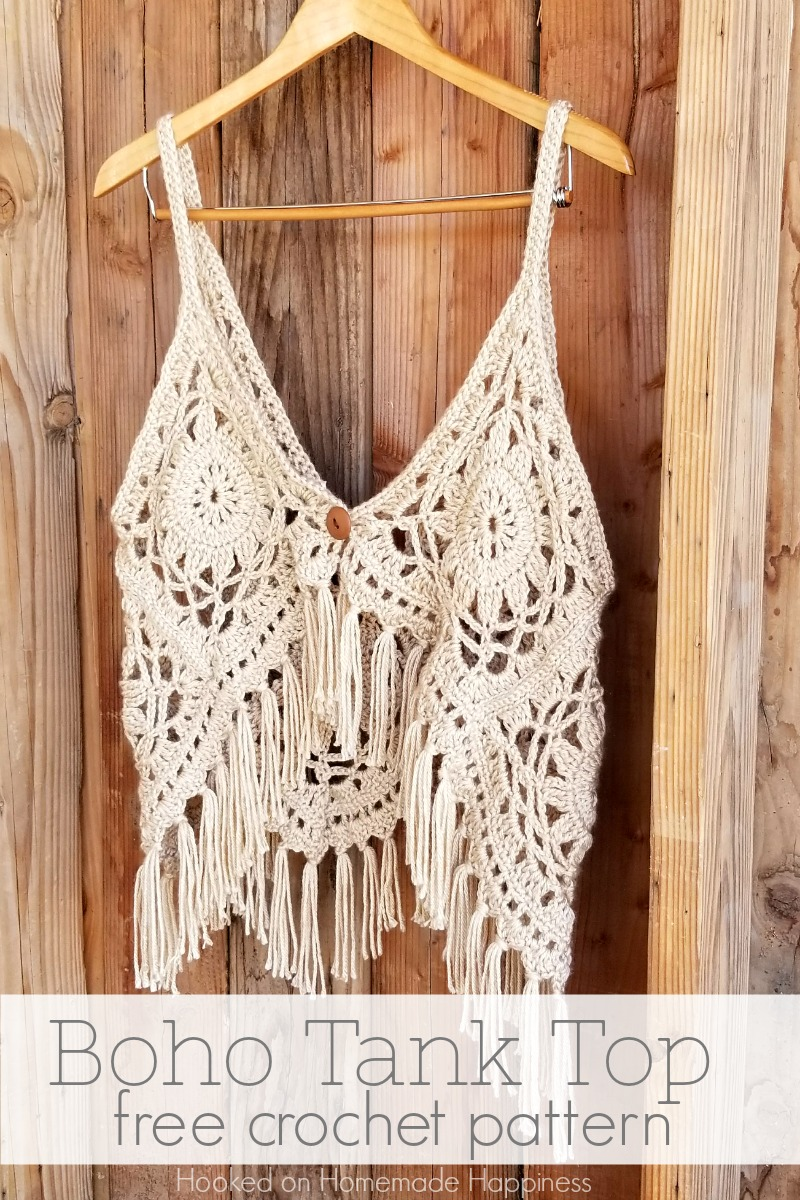 Boho Tank Top Crochet Pattern - I love this fun, funky, fring-y Crochet Boho Tank Top Pattern! It's super cute layered with long necklaces over a sundress.