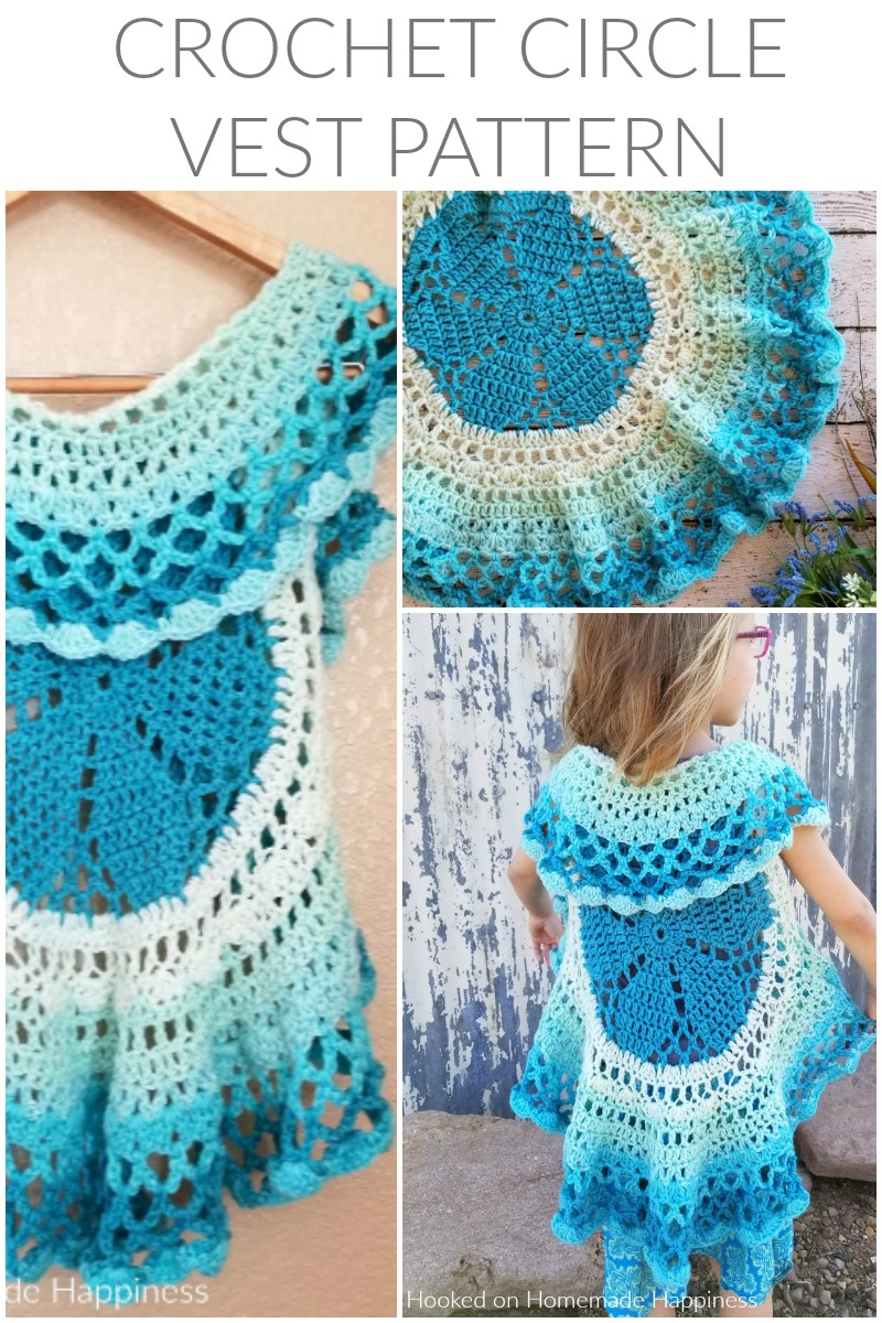 Crochet Circle Vest - I love circle vests! They're such a fun accessory. For this Crochet Circle Vest Pattern I wanted to use a Caron Cake. Because who doesn't love stripes without weaving in all the ends, amiright?