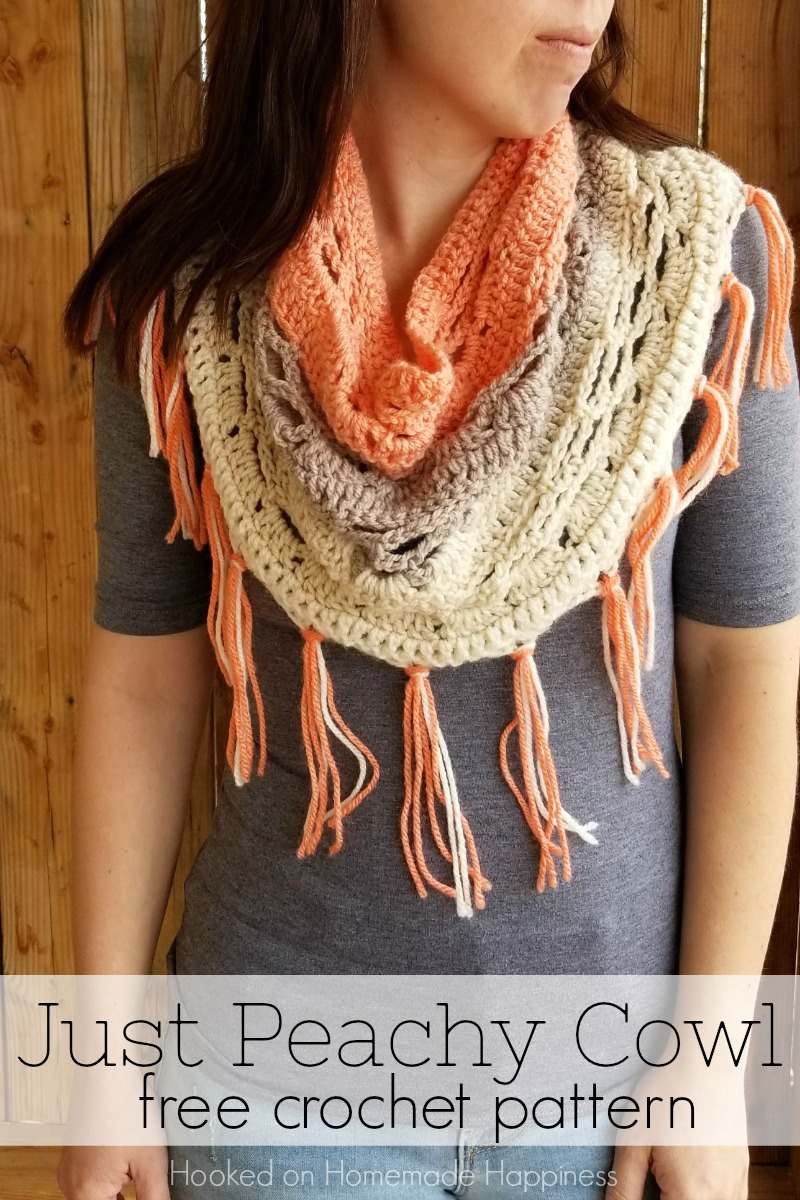 Just Peachy Cowl Crochet Pattern - And I have yet another Caron Cake pattern, the Just Peachy Cowl Crochet Pattern! I can't help myself! I'm obsessed, I tell ya! I made this cowl using Strawberry Trifle. I loved the peachy pink with the creams and grays.