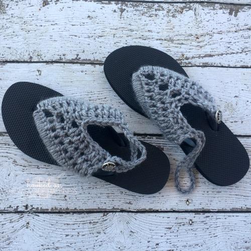 Crochet Sandals with Rubber Flip Flops