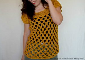 Honeycomb Crochet Top - The Honeycomb Crochet Top has a beautiful honeycomb design and it fits perfectly with the golden yarn.