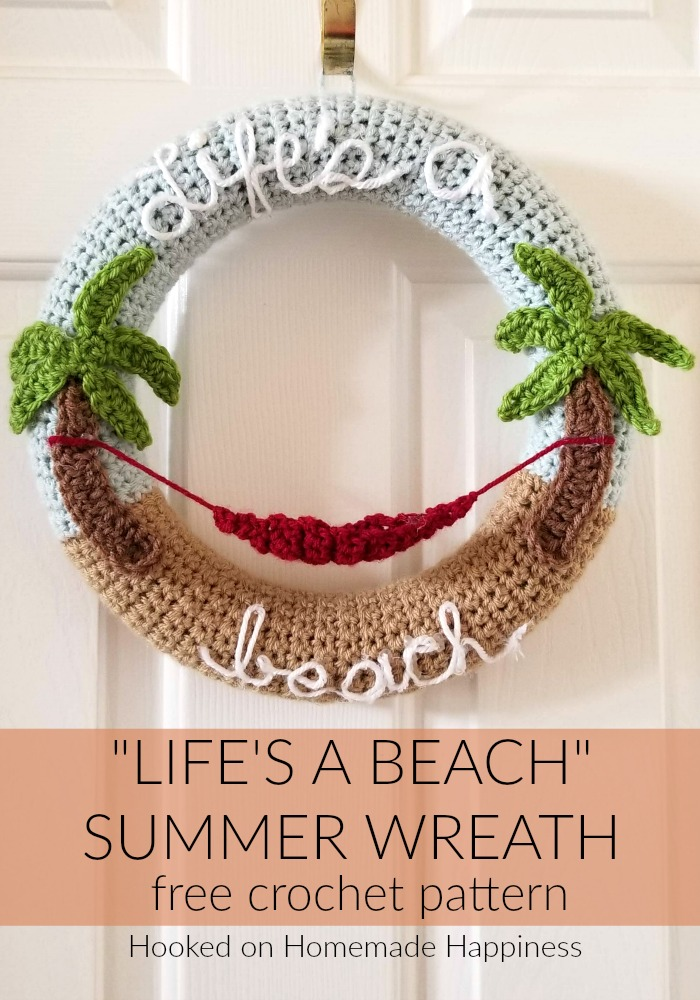 "Making crochet wreaths is so much fun and I had a blast making this ""Life's a Beach"" Summer Crochet Wreath! Once you know how to make the wreath base, the possibilities are endless."