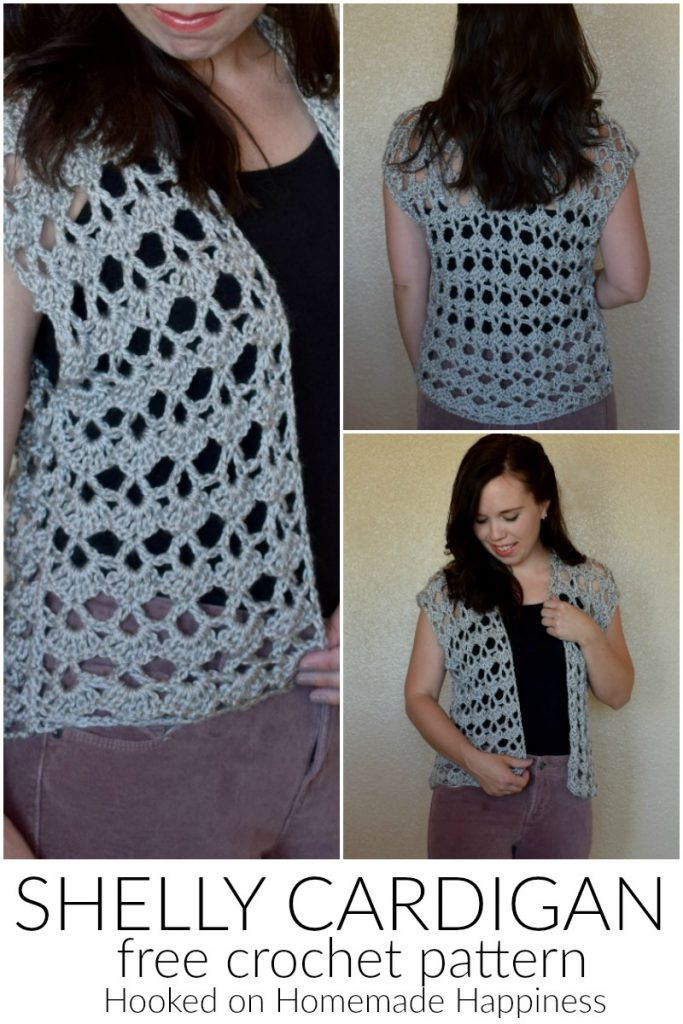 Shelly Crochet Cardigan - The Shelly Crochet Cardigan has a pretty, lacy shell stitch. It's open, airy, girly, and the perfect summer accessory!