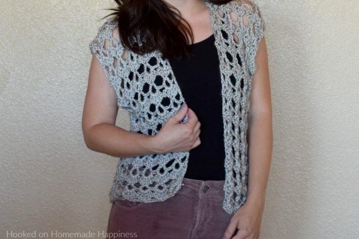 Shelly Crochet Cardigan - The Shelly Crochet Cardiganhas a pretty, lacy shell stitch. It's open, airy, girly, and the perfect summer accessory!