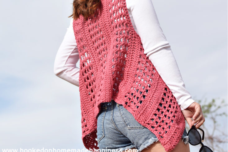 "XOXO Summer Vest Crochet Pattern - Add this XOXO Summer Crochet Vest to your summer wardrobe for a fun accessory! The cotton yarn makes it light and a great project for warmer months. I used the ""X' stitch. It has an open, airy design, and creates a nice textured piece."