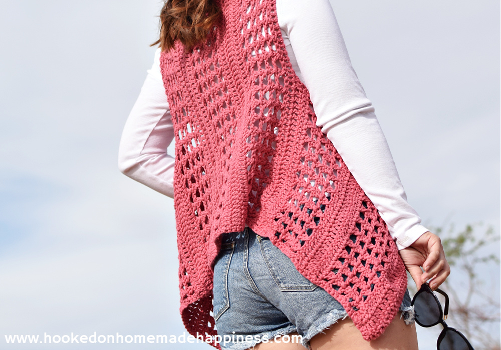 """XOXO Summer Vest Crochet Pattern - Add thisXOXO Summer Crochet Vestto your summer wardrobe for a fun accessory! The cotton yarn makes it light and a great project for warmer months.I used the """"X' stitch. It has an open, airy design, and creates a nice textured piece."""