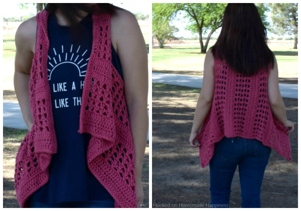 "XOXO Summer Vest - Add this XOXO Summer Crochet Vest to your summer wardrobe for a fun accessory! The cotton yarn makes it light and a great project for warmer months. I used the ""X' stitch. It has an open, airy design, and creates a nice textured piece."