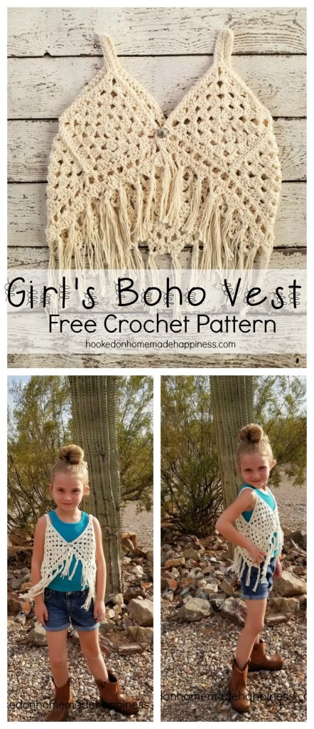 Girls Boho Crochet Vest Hooked On Homemade Happiness