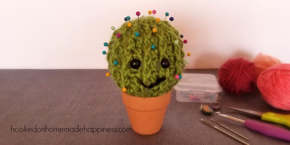Crochet Cactus Pincushion Hooked On Homemade Happiness
