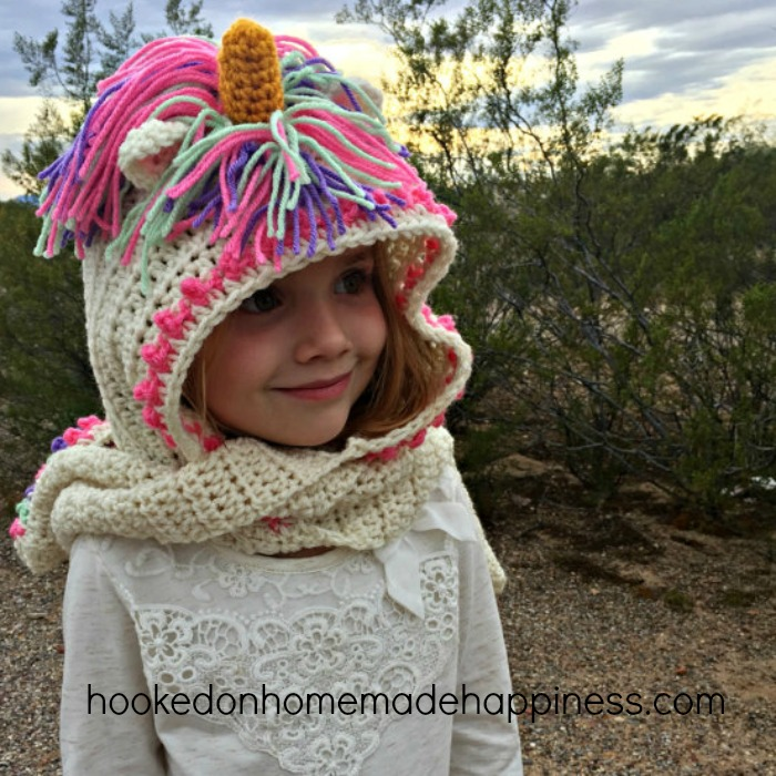 Unicorn Hooded Scarf with Pockets | Hooked on Homemade Happiness