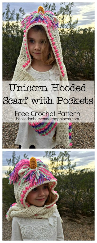 Unicorn Hooded Scarf With Pockets Hooked On Homemade Happiness