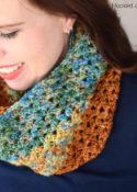 Autumn Stripes Crochet Infinity Scarf Pattern