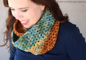 Autumn Stripes Infinity Scarf Crochet Pattern - The Autumn Stripes Crochet Infinity Scarf Pattern is the perfect fall transition piece. I used the cluster V stitch which has a little bit of a lacy look.
