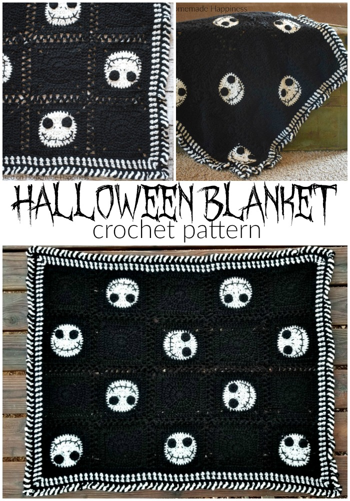 Halloween Crochet Blanket - Have some Halloween fun with this Halloween Crochet Blanket! It's the perfect size to wrap up in while watching your favorite Halloween movie!