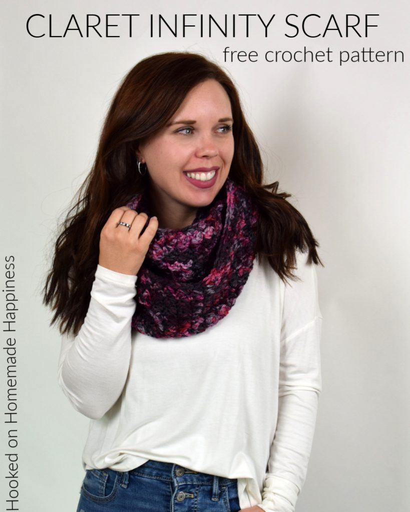 Claret Infinity Scarf Crochet Pattern - Wrap yourself in this easy and beautiful Claret Infinity Crochet Scarf Pattern. I used the Suzette Stitch; the ease and texture of this stitch makes it one of my favorite stitches.