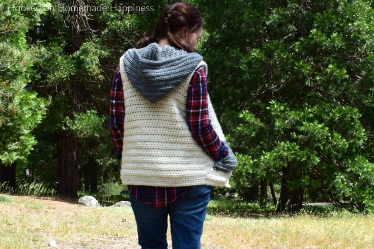 Crochet Hooded Vest with Pockets - This Crochet Hooded Sweater Vest is cute, cozy, comfy... just the perfect winter accessory!