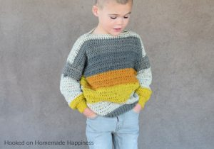 Everykid Sweater Crochet Pattern - The Everykid Crochet Sweater Pattern is written in sizes 2T - 5T and can be made for boys or girls! This sweater is basically the same as my EVERYGIRL CROCHET SWEATER pattern, just smaller ;)