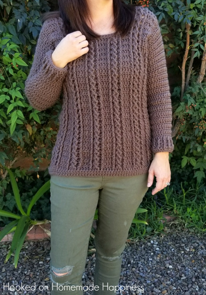 Cable Crochet Sweater Pattern Hooked On Homemade Happiness