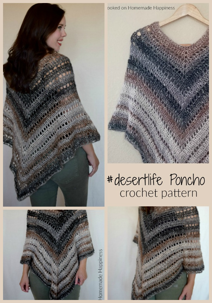 Desert Life Poncho - I named this Crochet Poncho Pattern the  #desertlife Poncho because this is about as cozy as we get here in the desert!