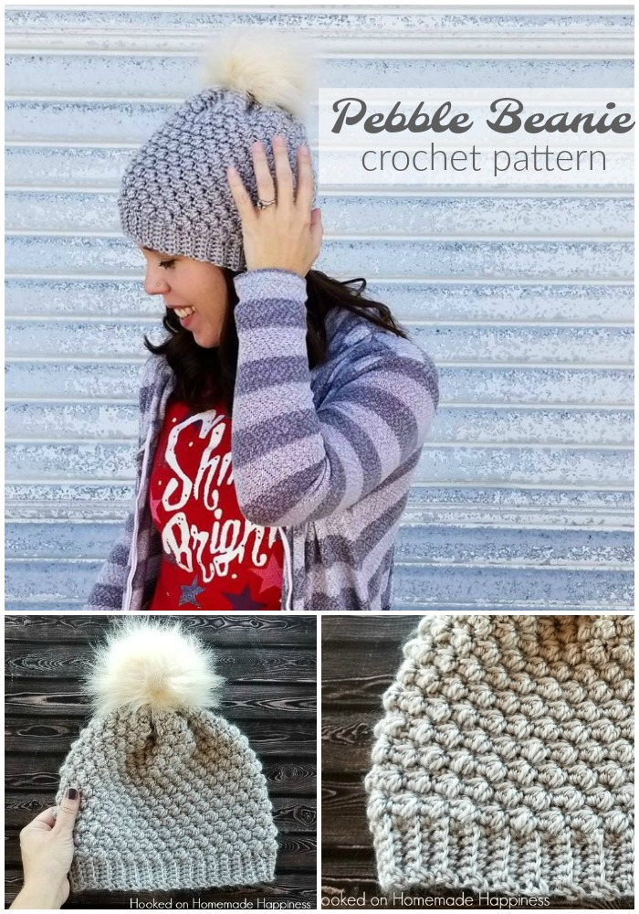 Pebble Beanie Crochet Pattern - I recently discovered the Pebble Stitch and I fell in love with it and had to make the Pebble Beanie Crochet Pattern right away! It's beautifully textured and is so easy to create with a simple 4 row repeat. Pebble Beanie Crochet Pattern - I recently discovered the Pebble Stitch and I fell in love with it and had to make the Pebble Beanie Crochet Pattern right away! It's beautifully textured and is so easy to create with a simple 4 row repeat.