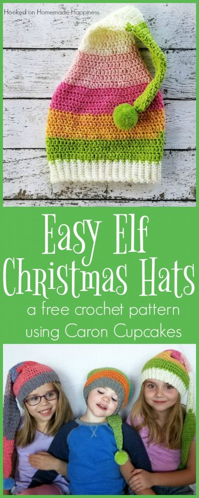 Elf Crochet Hats with Caron Cupcakes | Hooked on Homemade Happiness