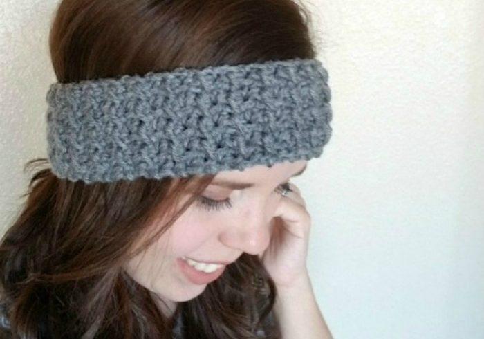 textured ear warmer headband crochet pattern