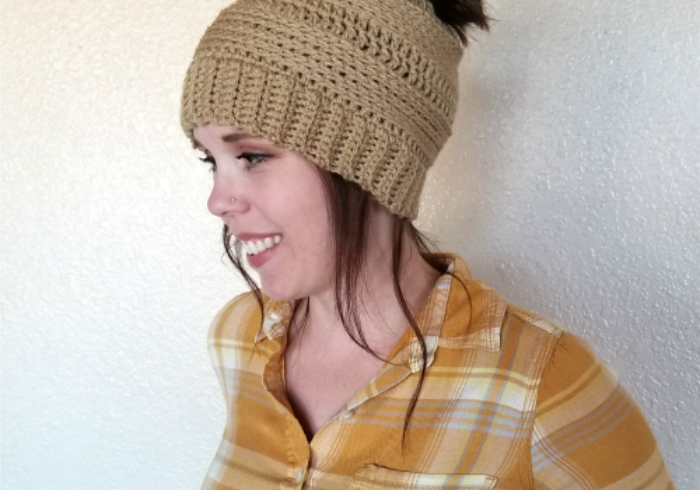 messy bun beanie crochet pattern