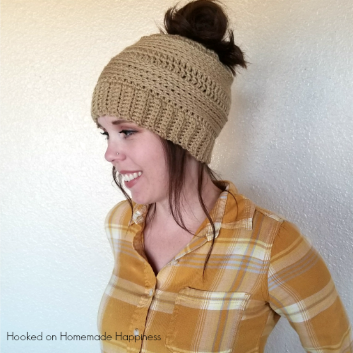 Crochet Messy Bun Beanie Pattern Hooked On Homemade Happiness Adorable Bun Hat Pattern