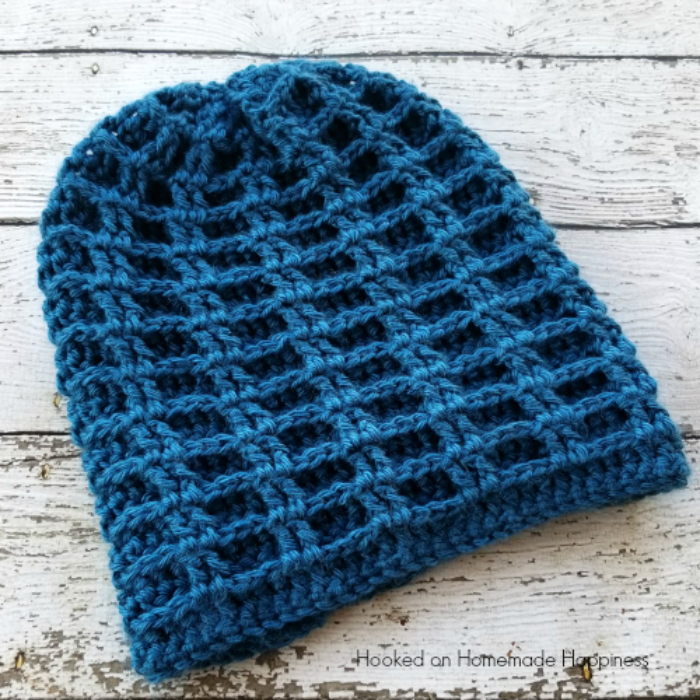 Double Waffle Slouchy Beanie Crochet Pattern | Hooked on Homemade ...