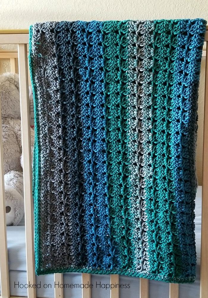Cluster Stripes Baby Blanket Crochet Pattern