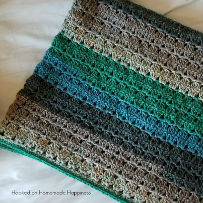 cluster striped baby blanket crochet pattern