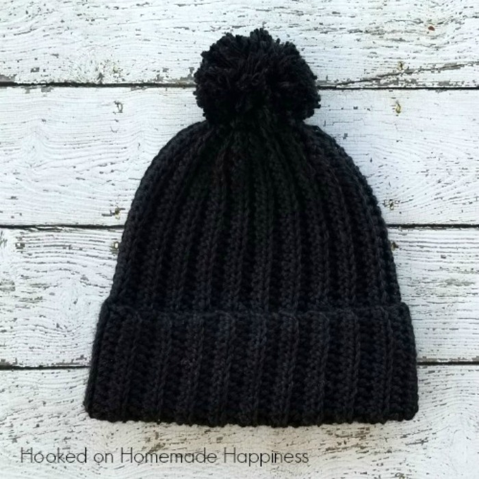 Classic Black Beanie Crochet Pattern Hooked On Homemade Happiness