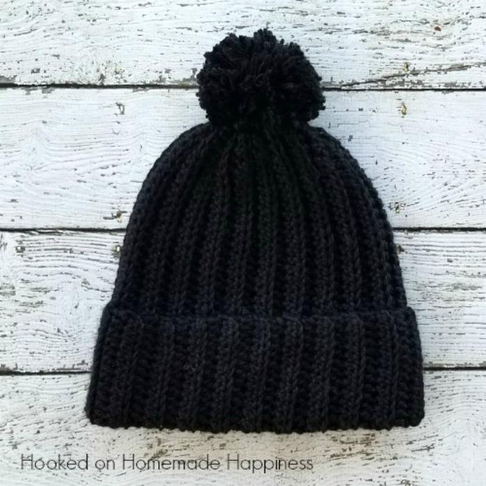 classic black beanie crochet pattern