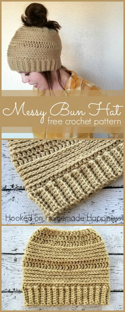 crochet messy bun beanie pattern
