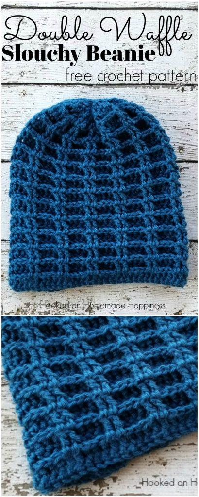 double waffle slouchy crochet beanie pattern