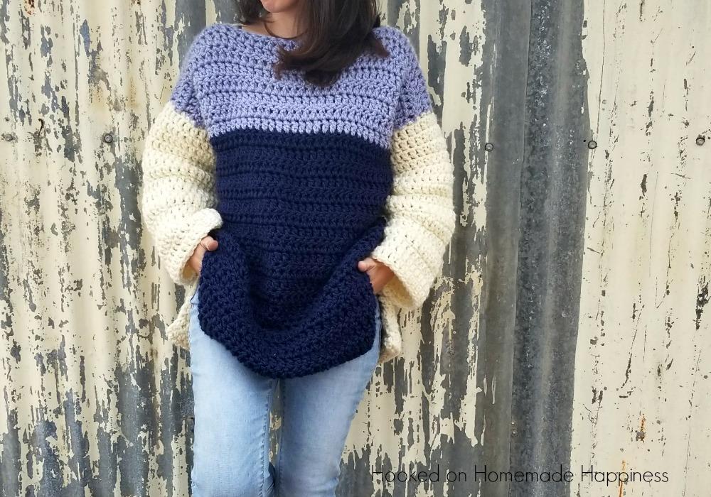 Overseied Color Block Crochet Sweater Pattern