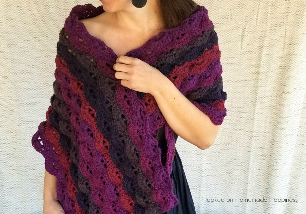 Berry Crochet Wrap Pattern with Caron Cakes