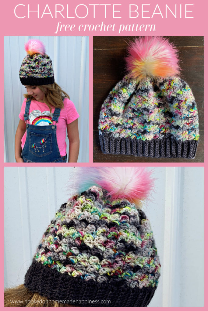 Charlotte Beanie - The Charlotte Beanie Crochet Pattern is fun & girly! This stitch creates a beautiful texture and is so cute with a pom pom.