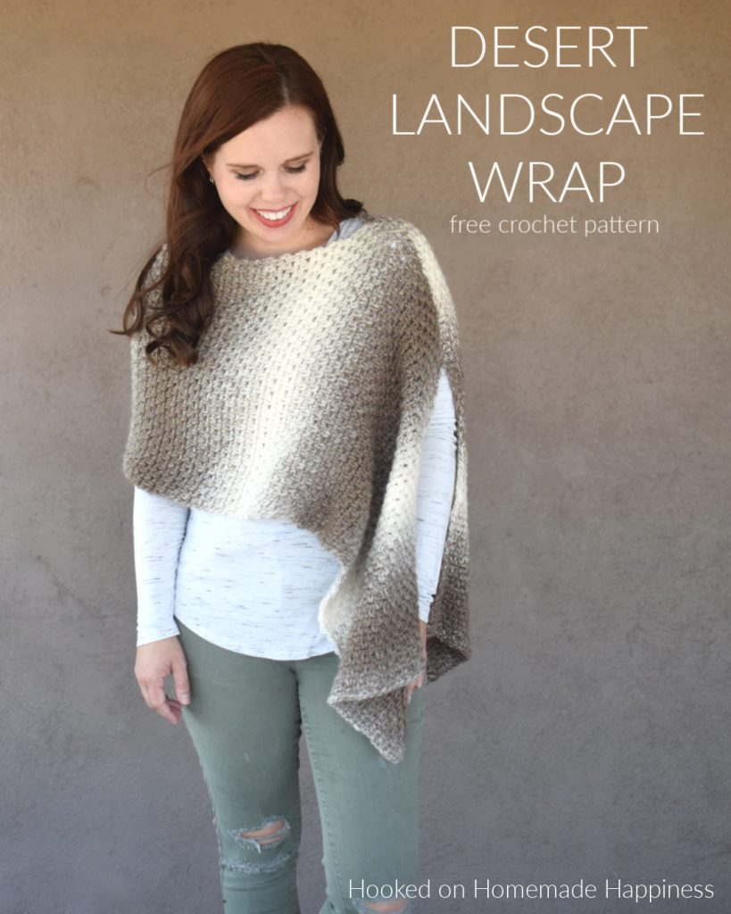 Desert Landscape Wrap Crochet Pattern -  I am obsessed with Scarfie yarn! The ombre effect is spot on and I'm especially loving these neutrals! It's the perfect yarn for the Desert Landscape Wrap Crochet Pattern.