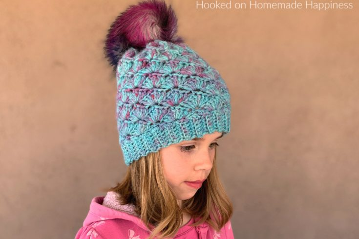 Shell Stitch Beanie Crochet Pattern - The Shell Stitch Beanie Crochet Pattern came out so beautiful and with an easy 2 row repeat pattern, it stitches up in no time.