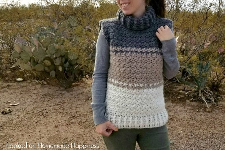 Cowl Sweater Vest Crochet Pattern