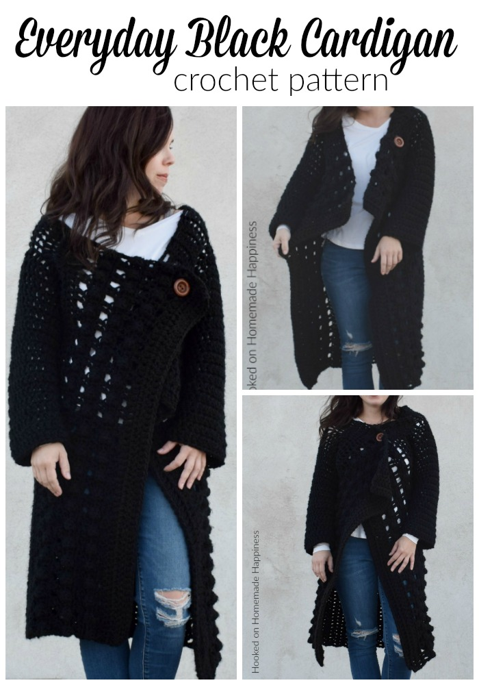 Everyday Black Cardigan Crochet Pattern - I'm so excited to share with you this Everyday Black Crochet Cardigan Pattern! Who doesn't need a black sweater. right? It's easy to grab and match with pretty much any outfit.