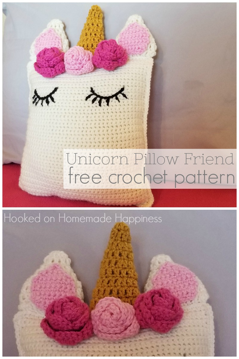 Unicorn Pillow Friend Free Crochet Pattern -This sweet Unicorn Pillow Friend Crochet Pattern is the perfect huggable size and looks so pretty sitting on a bed or shelf.