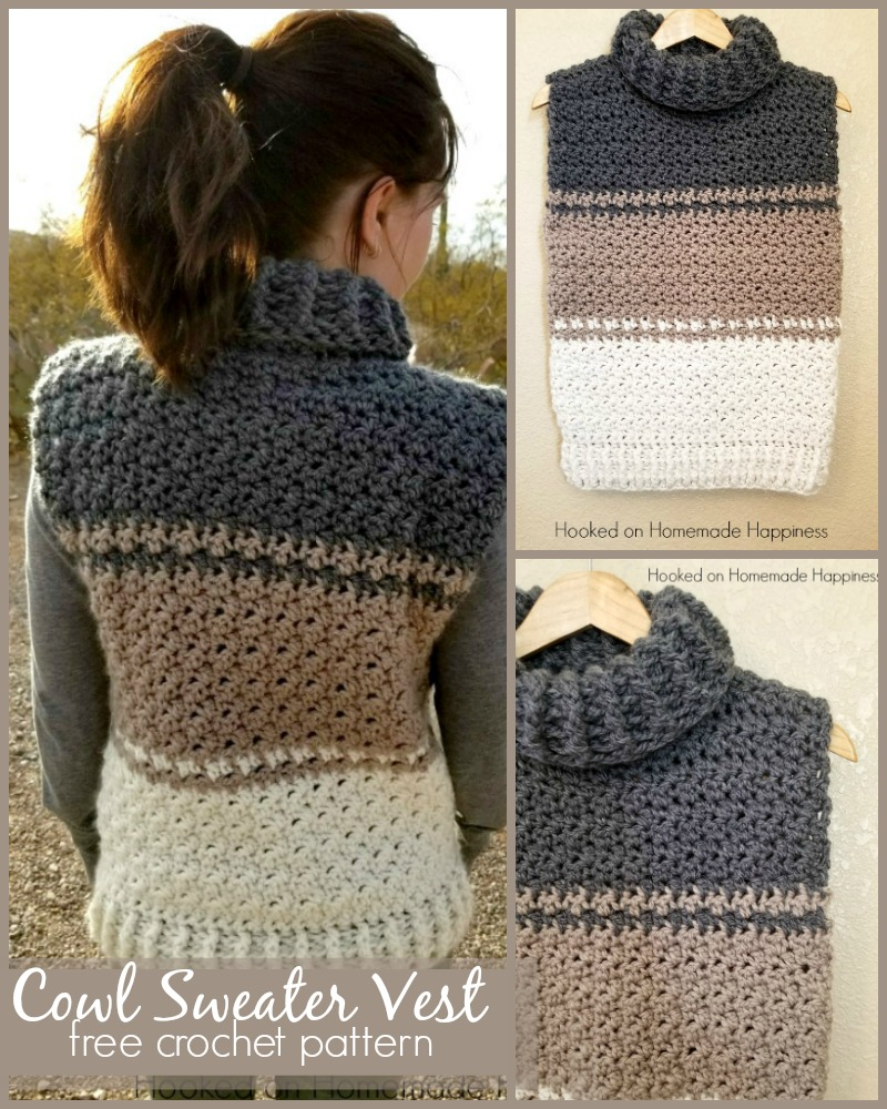 41b58e9e2 Cowl Sweater Vest Crochet Pattern