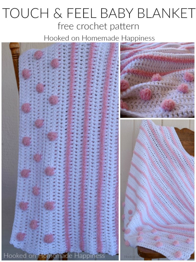 Touch and Feel Baby Blanket Crochet Pattern - I love all the textures in this Touch and Feel Baby Blanket Crochet Pattern! From the different yarns and different stitches there's a lot for baby to touch and feel. Baby will love spending tummy time on this blanket!