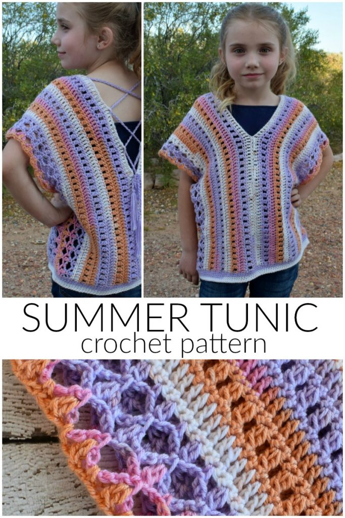 Summer Tunic Crochet Pattern - The Summer Tunic Crochet Pattern is a great lightweight, kid's summer top! But it could easily be customized for an adult, too.