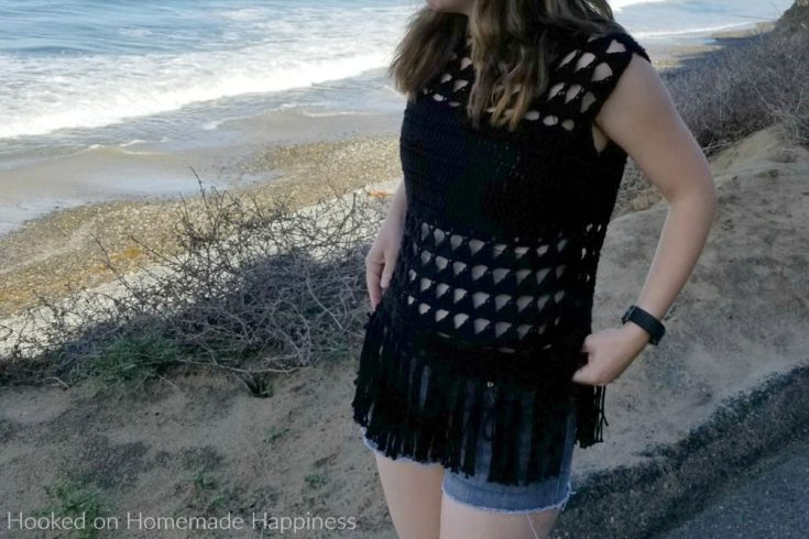Triangles and Fringe Crochet Top - This Triangles & Fringe Crochet Top Pattern is made with cotton yarn, and with the fun peek-a-boo sections it makes this perfect for summer!