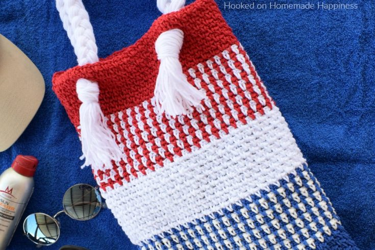 Patriotic Summer Tote Bag Crochet Pattern - The Patriotic Summer Tote Bag Crochet Pattern is so easy to make and will be super cute for your summer shananigans!