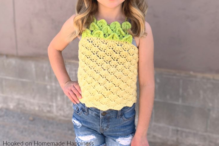 Pineapple Top Crochet Pattern - The Pineapple Crochet Top Pattern is such fun! I used a pretty shell stitch for the body of the top to give it some of that pineapple-y texture.