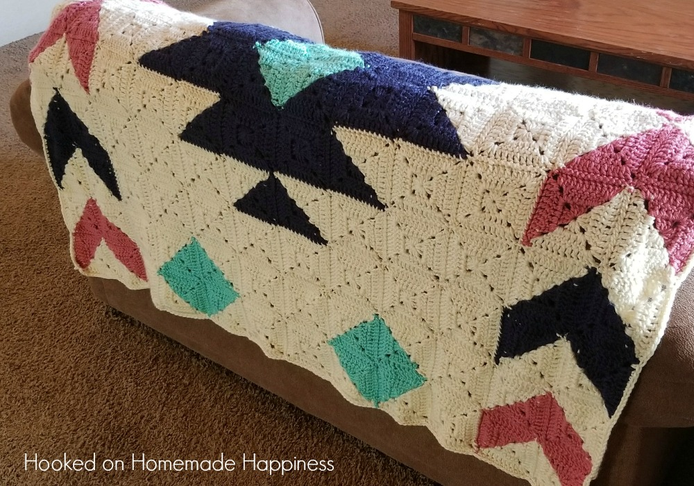 The Southwest Granny Square Crochet Blanket Pattern is easier than it looks! By using Half & Half Granny Squares, you can easily make this southwest design!